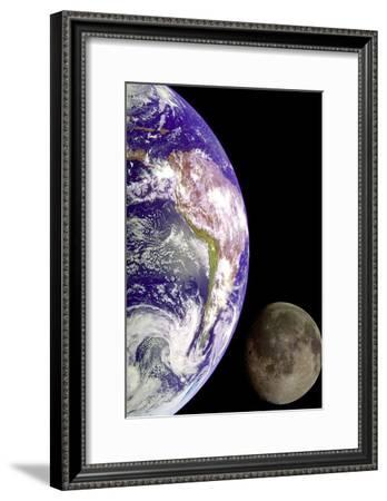 Earth And Moon (From Space) Photo Poster Print--Framed Poster