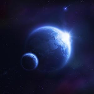 Earth and Moon in Outer Space with Rising Sun and Flying Meteorites