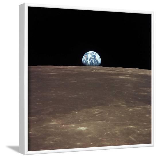 Earth Rising Above the Moon's Horizon-Stocktrek Images-Framed Photographic Print