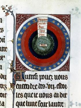 Earth Surrounded by Water, Air, Fire, the Planets and Stars, 13th Century