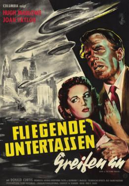 Earth vs. the Flying Saucers, German Movie Poster, 1956