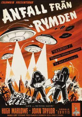 Earth vs. the Flying Saucers, Swedish Movie Poster, 1956