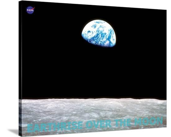 Earthrise over the Moon--Stretched Canvas