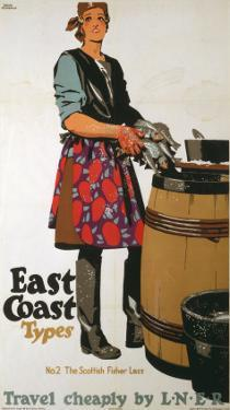 East Coast Types Girl with Fish and Barrel