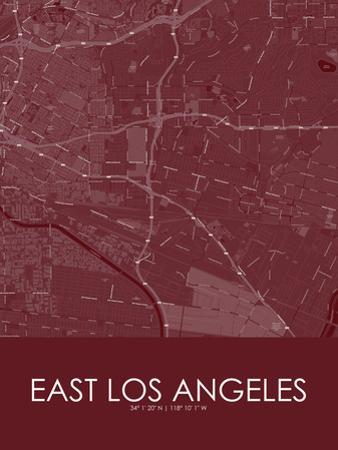 East Los Angeles, United States of America Red Map