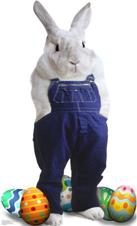 Easter Bunny Overalls Lifesize Standup