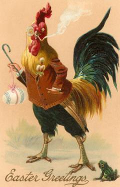Easter Greetings, Rooster Smoking