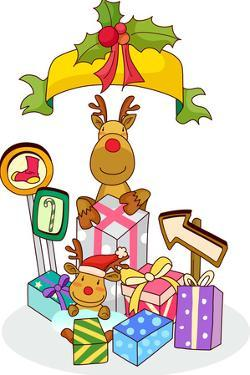 Two Reindeers Holding Christmas Presents by Eastnine Inc.