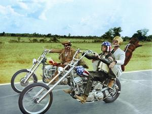 Easy Rider by DennisHopper with Dennis Hopper, Peter Fonda and Jack Nickolson, 1969 (motos Harley D
