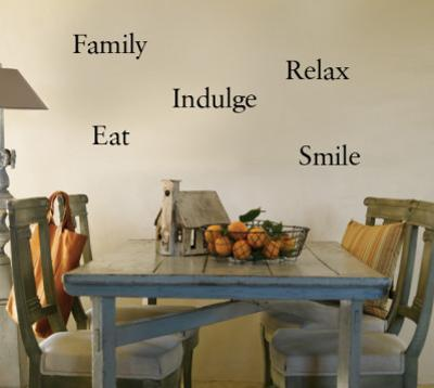 Eat, Indulge, Relax, Family, Smile