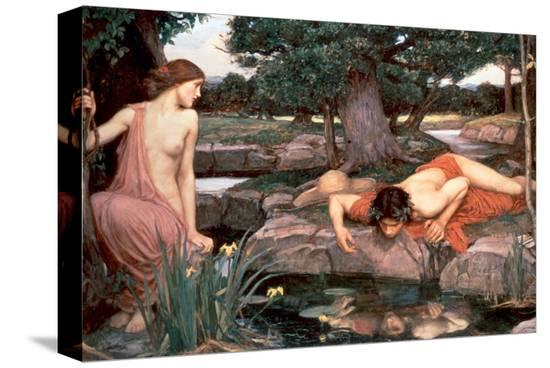 Echo and Narcissus-John William Waterhouse-Stretched Canvas Print
