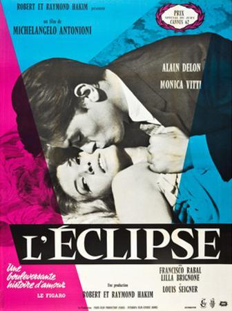 Eclipse, (aka L'Eclisse), Alain Delon, Monica Vitti on French Poster Art, 1962