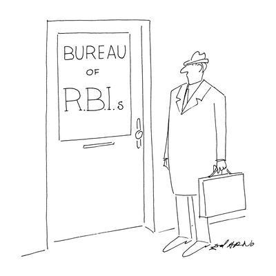 A man stands in front of a door that has a sing in the window that reads '? - New Yorker Cartoon