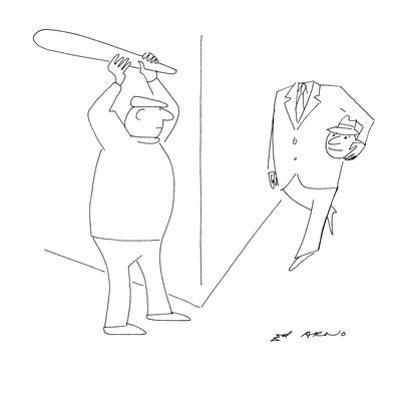 A thief holds a bat ready to hit a man over the head but the man coming ar… - New Yorker Cartoon by Ed Arno