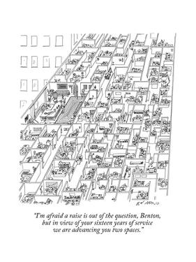 """""""I'm afraid a raise is out of the question, Benton, but in view of your si…"""" - New Yorker Cartoon by Ed Arno"""