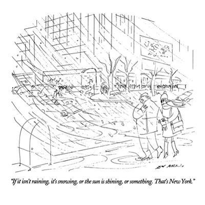 """If it isn't raining, it's snowing, or the sun is shining, or something. T…"" - New Yorker Cartoon by Ed Arno"
