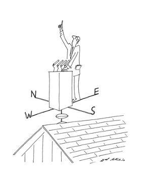 Politician stands at podium which is on top of a weathervane with one fing… - New Yorker Cartoon by Ed Arno