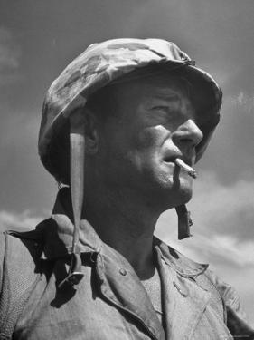 "Actor John Wayne as Marine Sgt. Platoon Leader in Scene From the Movie ""Sands of Iwo Jima"" by Ed Clark"
