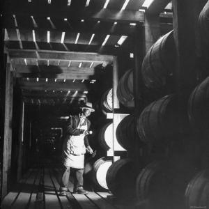 Employee in Warehouse of Jack Daniels Distillery Checking For Leaks in the Barrels by Ed Clark