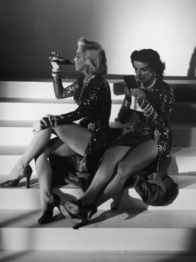 "Marilyn Monroe and Jane Russell During a Break While Filming ""Gentlemen Prefer Blondes"" by Ed Clark"
