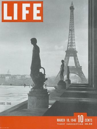 Paris, Statues with Eiffel Tower, March 18, 1946