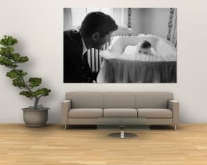 Sen. Jack Kennedy Admiring Baby Caroline as She Lies in Her Crib in Nursery at Georgetown Home by Ed Clark