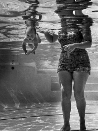 World's Youngest Swimmer Julie Sheldon, 9 Weeks Old, Swimming Underwater by Ed Clark