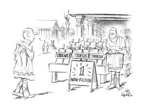 """Ancient Greek street with store and sign """"1 Non-Fiction"""" and many copies o… - New Yorker Cartoon by Ed Fisher"""
