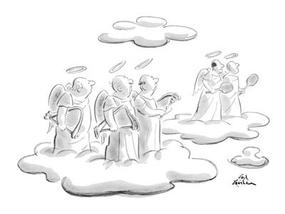 Angels in heaven look at another pair of angels who are holding tennis rac? - New Yorker Cartoon