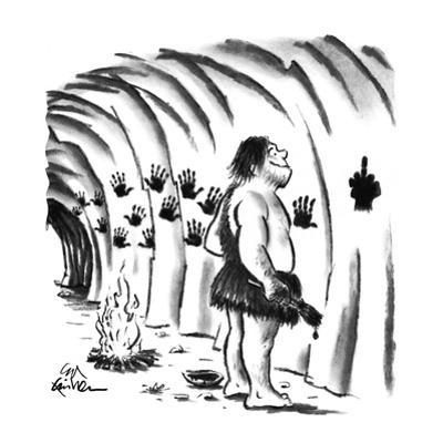 Caveman experimenting with hand-painting on cave walls; last print made is… - New Yorker Cartoon by Ed Fisher