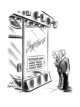 """Couple outside restaurant """"Spido's"""" with sign in the window """"Reopening soo? - New Yorker Cartoon by Ed Fisher"""