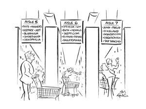 Drawing of three aisles of a bookstore that looks like a supermarket - the… - New Yorker Cartoon by Ed Fisher