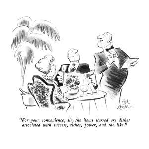 """""""For your convenience, sir, the items starred are dishes associated with s?"""" - New Yorker Cartoon by Ed Fisher"""
