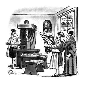 Gutenberg and two other men in medieval times with printing press, publish… - New Yorker Cartoon by Ed Fisher