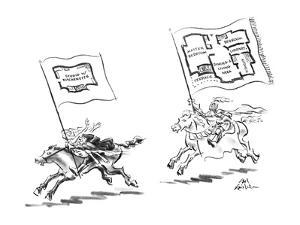 Man with woman is running away from knight, each has a floor plan of a cit… - New Yorker Cartoon by Ed Fisher
