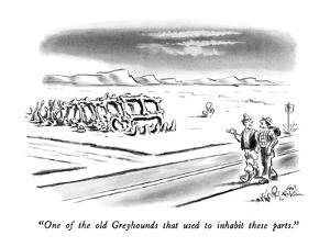 """""""One of the old Greyhounds that used to inhabit these parts."""" - New Yorker Cartoon by Ed Fisher"""