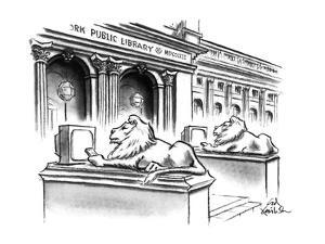 The two lion statues on the steps of the New York Public Library are holdi… - New Yorker Cartoon by Ed Fisher