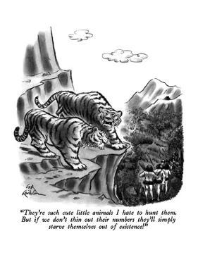 """They're such cute little animals I hate to hunt them.  But if we don't th…"" - New Yorker Cartoon by Ed Fisher"