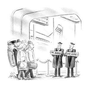 """Two men waiting at an airport with signs """"Mr. Jekyll"""" and """"Mr. Hyde"""". - New Yorker Cartoon by Ed Fisher"""