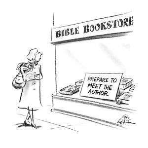 """Woman walking by Bible Bookstore with sign in window """"Prepare To Meet The …"""" - New Yorker Cartoon by Ed Fisher"""