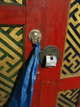 A Decorated Doorway in Ulaanbaatar, Mongolia by Ed George