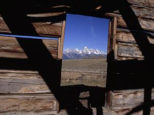 View of the Teton Mountains from an Old Homesteader's Cabin by Ed George