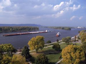 Aerial of Mississippi River, La Crosse, WI by Ed Lallo