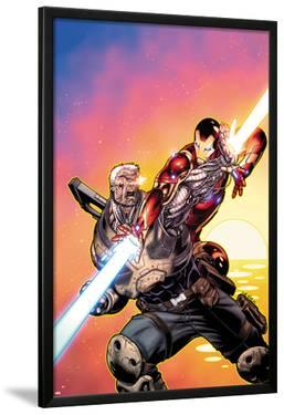 Avengers: X-Sanction No.2 Cover: Cable and Iron Man Fighting by Ed McGuinness