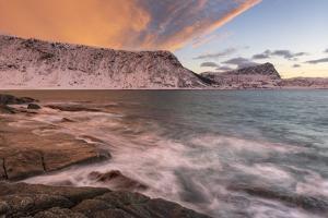 Dramatic sunset at Haukland Beach, Lofoten, Nordland, Arctic by Ed Rhodes