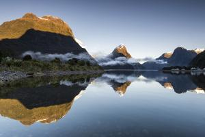 Low cloud lying below Mitre Peak at Milford Sound, Fiordland National Park, New Zealand by Ed Rhodes