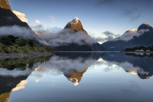 Mitre Peak reflected at Milford Sound, Fiordland National Park, South Island, New Zealand by Ed Rhodes