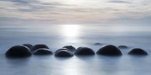 Moeraki boulders with a long exposure at Moeraki Beach, Otago, South Island, New Zealand by Ed Rhodes