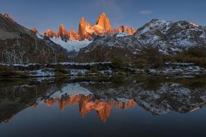 Mountain range with Cerro Fitz Roy at sunrise reflected, Los Glaciares National Park, Argentina by Ed Rhodes