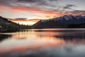 Queenstown and Bob's Peak with red sky at sunrise, Otago, South Island, New Zealand by Ed Rhodes